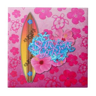 Chica de la persona que practica surf teja cerámica