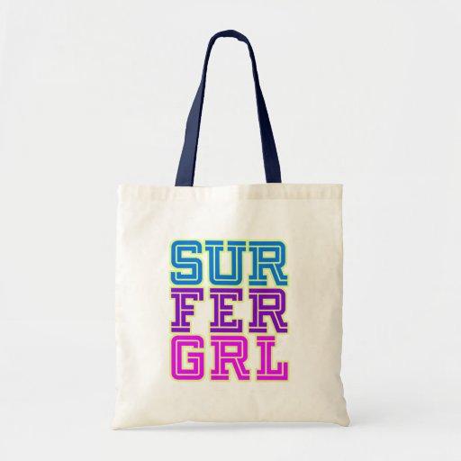 Chica de la persona que practica surf bolsas lienzo