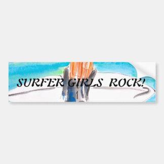 chica de la persona que practica surf pegatina de parachoque