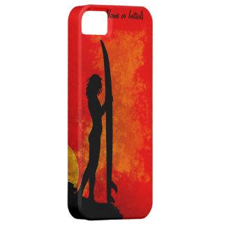 Chica de la persona que practica surf de la puesta iPhone 5 carcasa