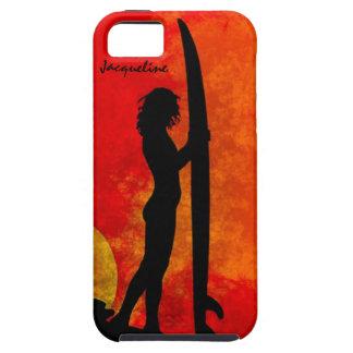 Chica de la persona que practica surf de la puesta iPhone 5 fundas