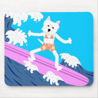 Chica de la persona que practica surf de Terrier b Tapetes De Raton