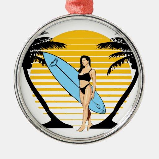 Chica de la persona que practica surf ornamentos de navidad