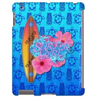 Chica de la persona que practica surf funda para iPad