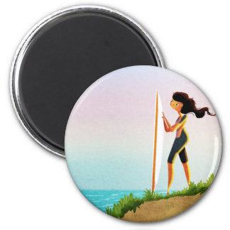 Chica de la persona que practica surf imán redondo 5 cm