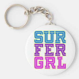 Chica de la persona que practica surf llavero personalizado
