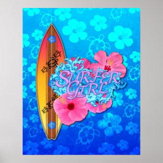 Chica de la persona que practica surf impresiones