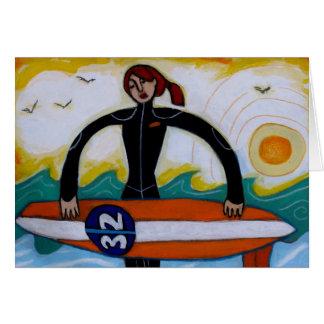 Chica de la persona que practica surf tarjeta de felicitación