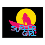 Chica de la persona que practica surf tarjeta postal