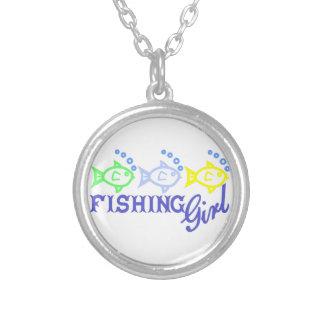 Chica de la pesca colgante redondo