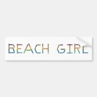 Chica de la playa etiqueta de parachoque