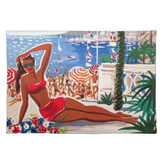 Chica de la playa de Cote d'Azur del vintage Manteles Individuales