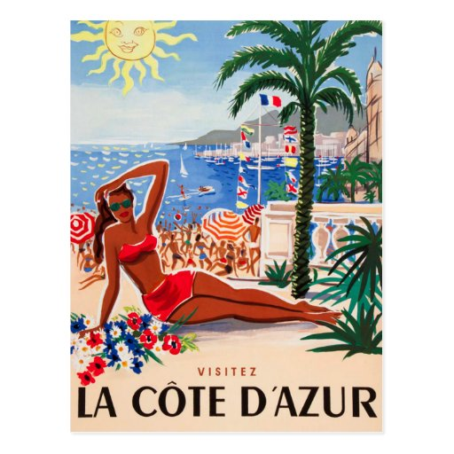 Chica de la playa de Cote d'Azur del vintage Tarjetas Postales
