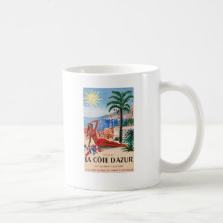 Chica de la playa de Cote d'Azur del vintage Taza Básica Blanca