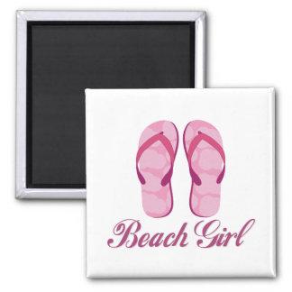 Chica de la playa imán para frigorifico