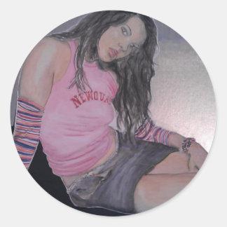 Chica de la playa, watercolour pegatina redonda