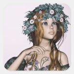 Chica de la primavera pegatinas cuadradas personalizadas