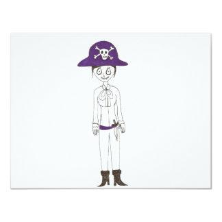 """Chica de la puntada del pirata invitación 4.25"""" x 5.5"""""""