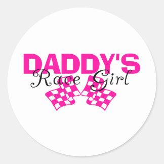Chica de la raza del papá pegatina redonda