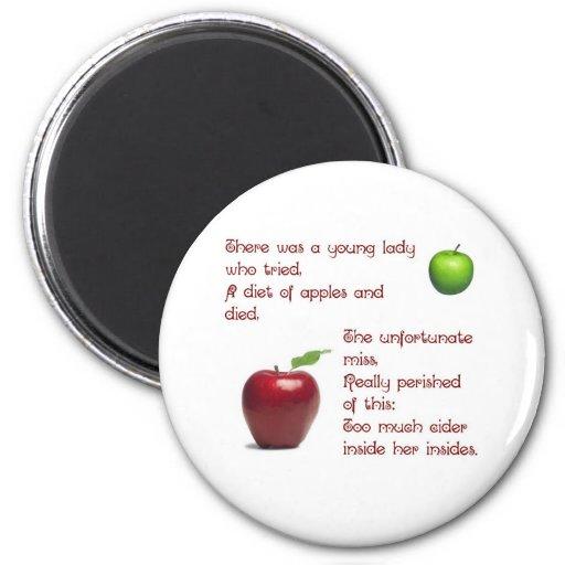 Chica de la sidra de Apple Imán Redondo 5 Cm
