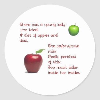 Chica de la sidra de Apple Pegatina Redonda