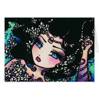 Chica de la sirena de la fantasía de la flor de la tarjeta de felicitación