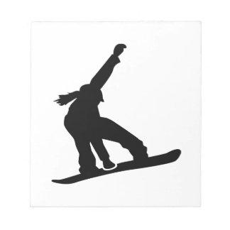 Chica de la snowboard blocs