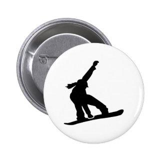 Chica de la snowboard pin redondo 5 cm