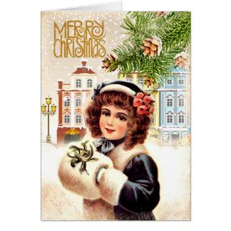 Chica de la tarjeta de Navidad del vintage con el