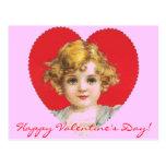Chica de la tarjeta del día de San Valentín del Postal