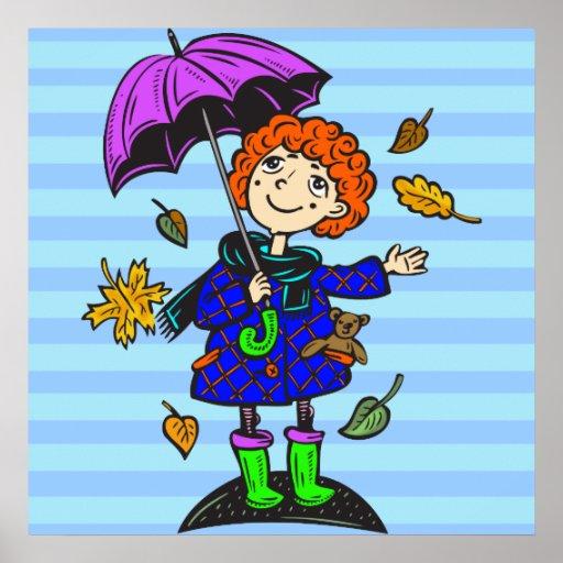 Chica de la temporada de otoño póster