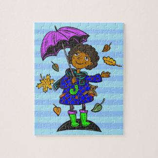 Chica de la temporada de otoño puzzles con fotos