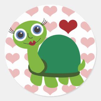 Chica de la tortuga pegatina redonda