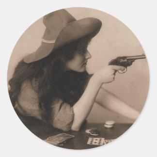 Chica de la vaca del vintage pegatina redonda
