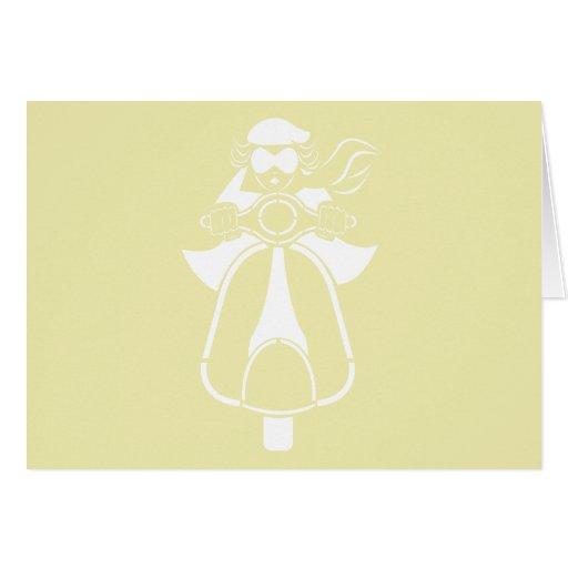 Chica de la vespa - diseño blanco tarjeta de felicitación