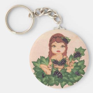 Chica de la vid de uva de Quantum Cutie Llavero Redondo Tipo Pin