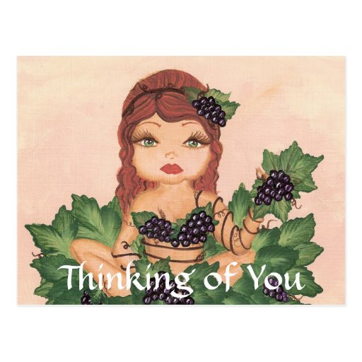 Chica de la vid de uva de Quantum Cutie que piensa Postal