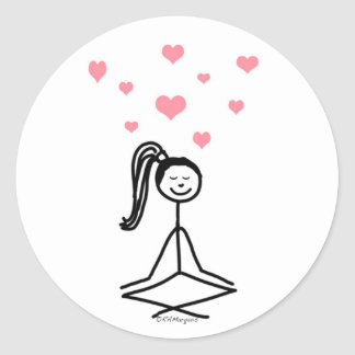 Chica de la yoga pegatina redonda