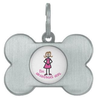 Chica de las abuelas placa de mascota