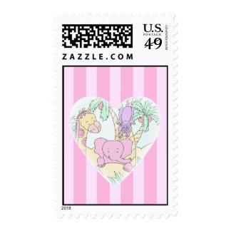 Chica de las bendiciones del corazón del bebé de sello postal