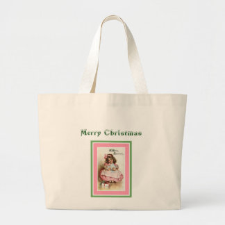 Chica de las Felices Navidad con la muñeca Bolsa Tela Grande