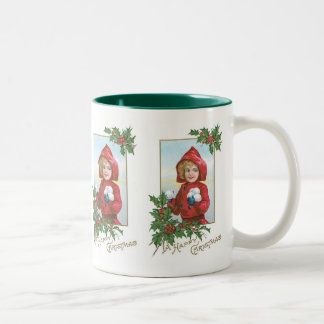 Chica de las felices Navidad con las bolas de niev Tazas De Café