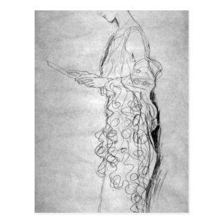 Chica de Lesendes en perfil de Gustavo Klimt Postales