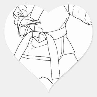 Chica de los artes marciales pegatina en forma de corazón