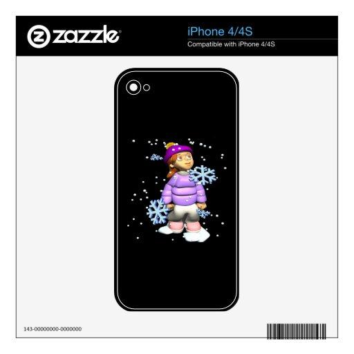 Chica de los copos de nieve skin para el iPhone 4S