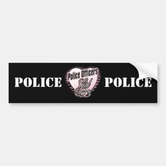 Chica de los oficiales de policía etiqueta de parachoque