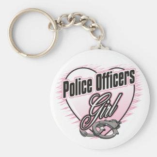 Chica de los oficiales de policía llaveros personalizados