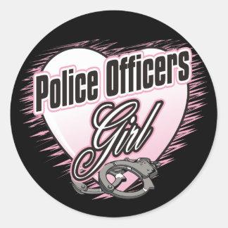Chica de los oficiales de policía pegatina redonda