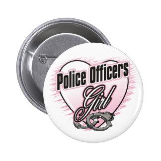 Chica de los oficiales de policía pin redondo 5 cm
