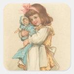 Chica de los saludos del navidad del vintage con l calcomania cuadradas personalizadas